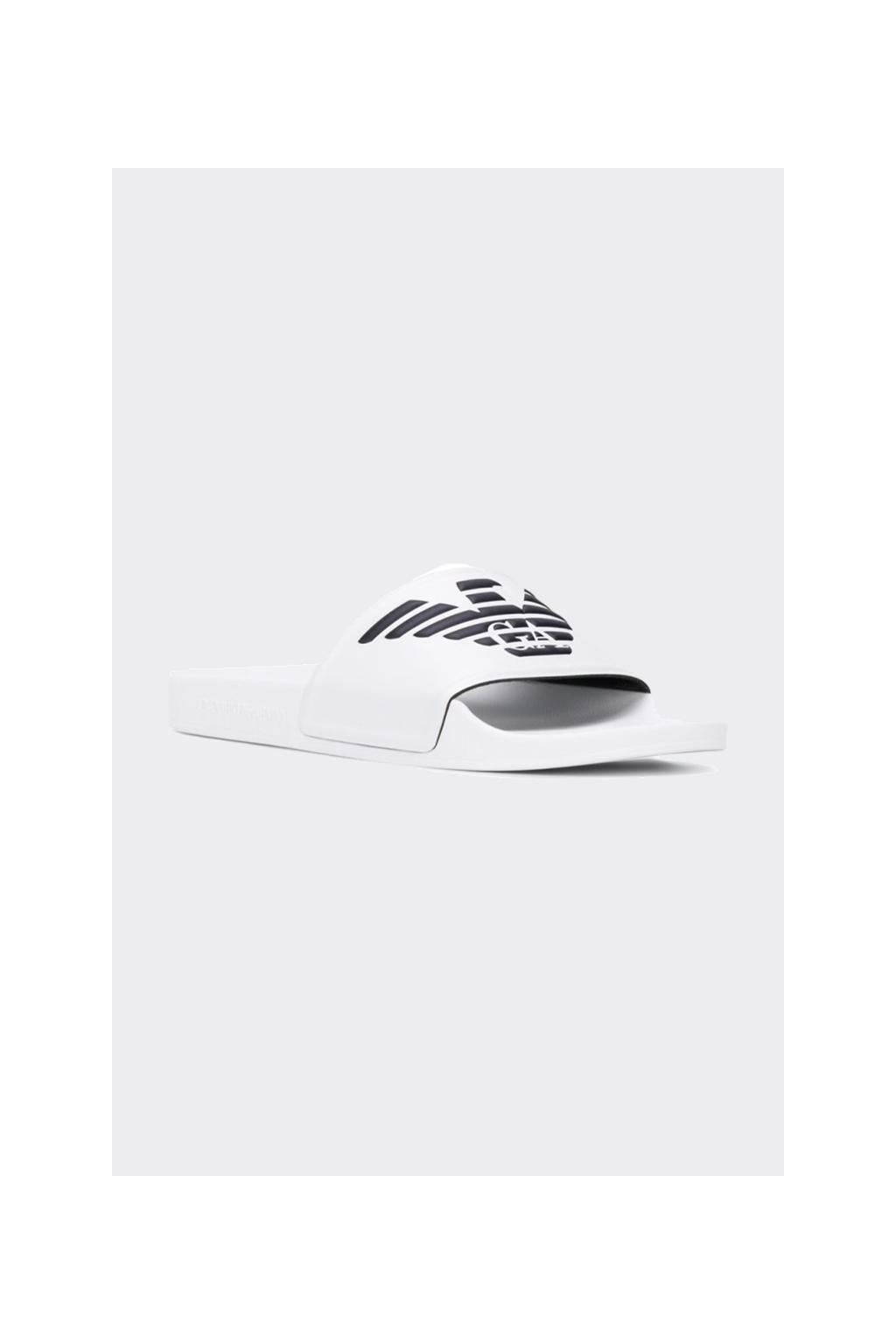 Emporio Armani logo pantofle dámské - bílé