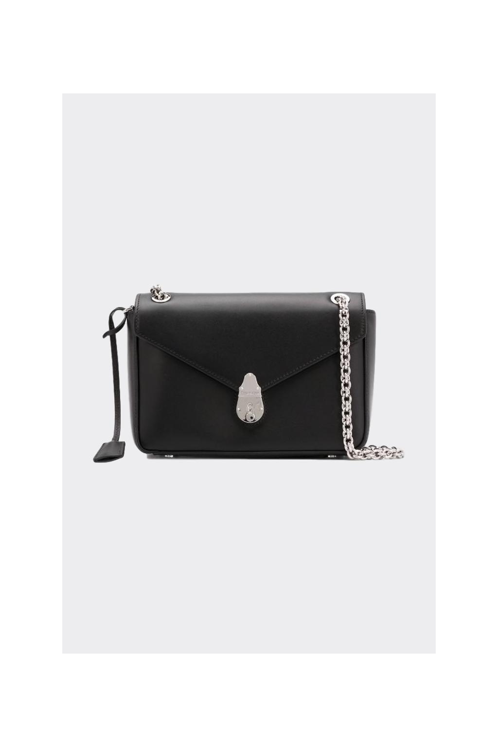 Calvin Klein kožená crossbody kabelka - černá