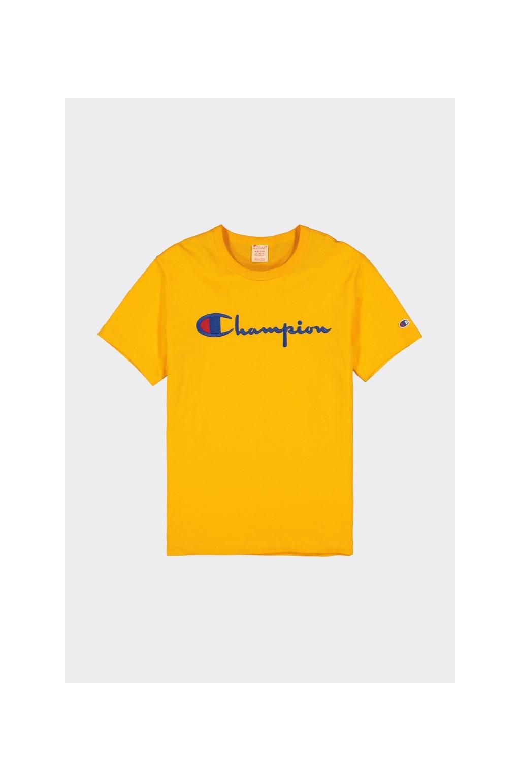 Champion Premium pánské tričko s velkým logem - oranžové