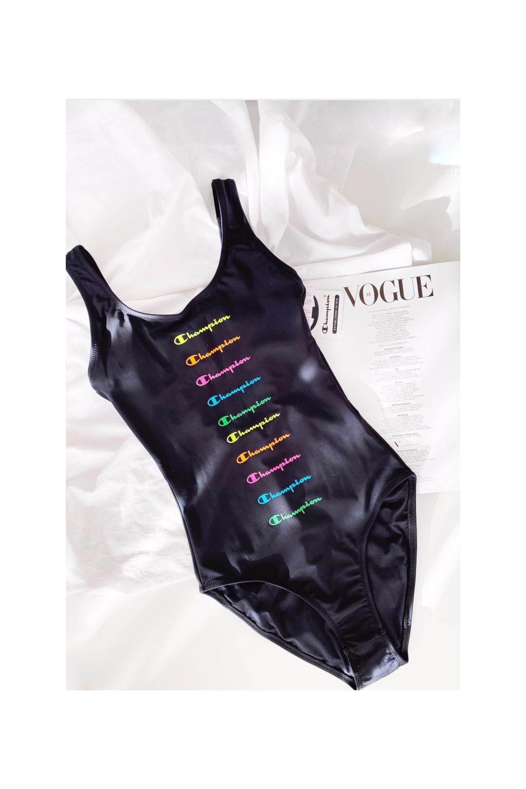 Champion jednodílné plavky s logem -  černé