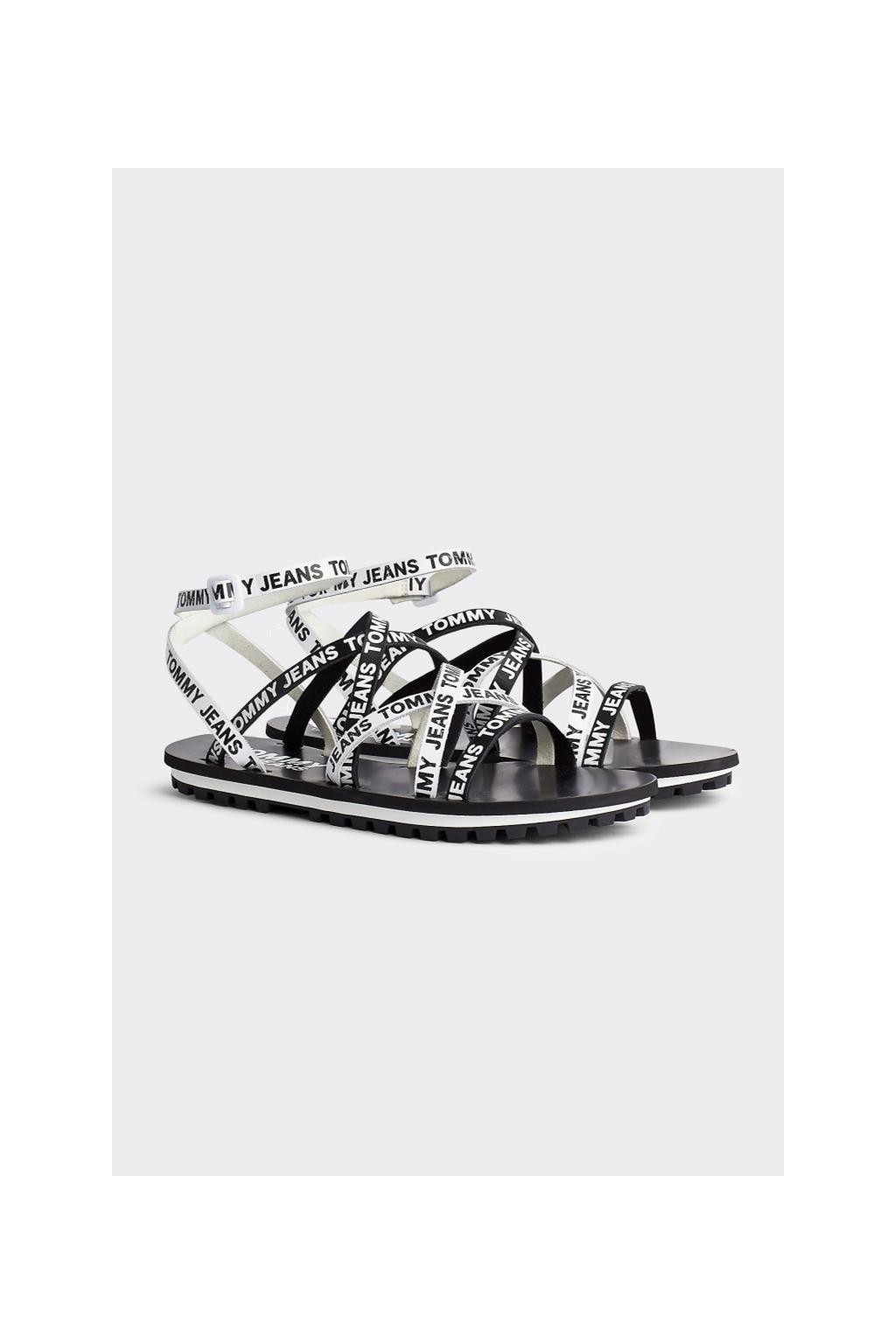Tommy Jeans sandále dámské - černá, bílá