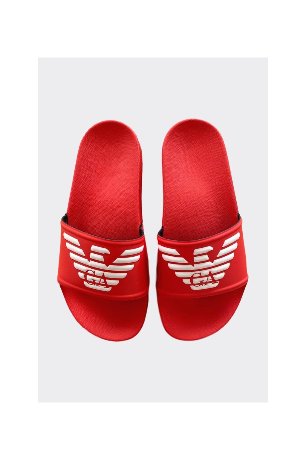 Emporio Armani logo pantofle dámské - korálová