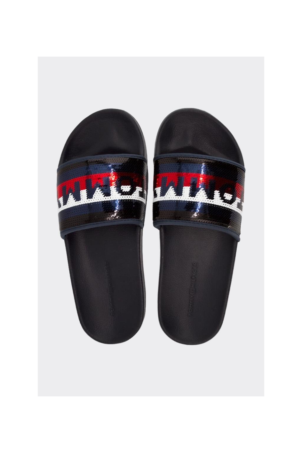 Tommy Hilfiger pantofle s flitry dámské - tmavě modré