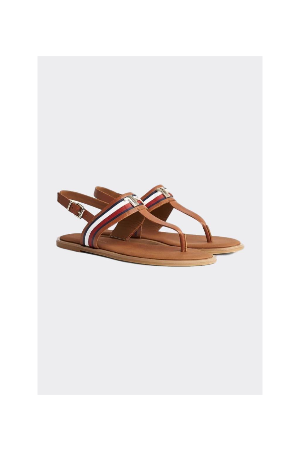 Tommy Hilfiger kožené sandále dámské - hnědé