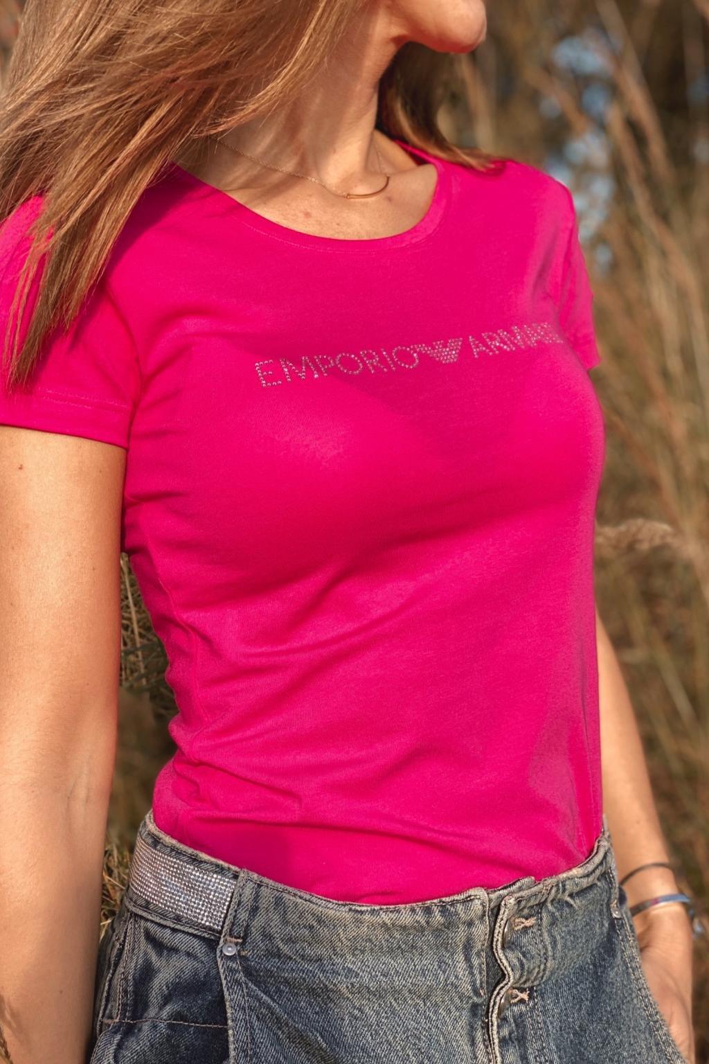 Emporio Armani Neo Romantic tričko s krátkým rukávem dámské - růžové