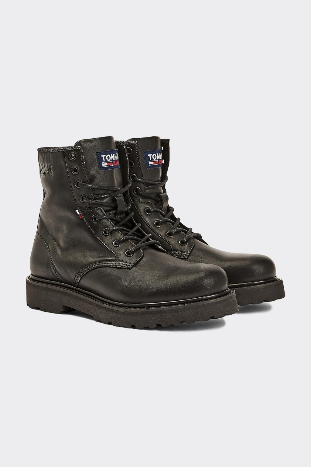 Tommy Jeans kožené Lace-up boots boty pánské - černé