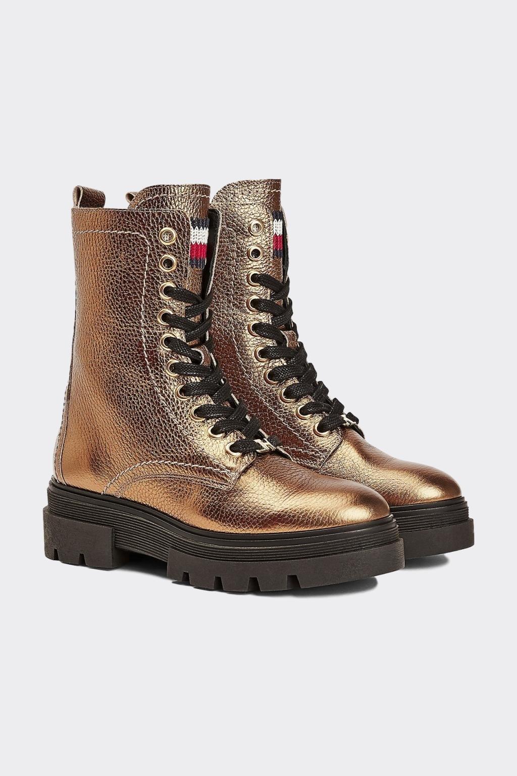 Tommy Hilfiger kožené metallic Lace-up boots dámské - zlaté
