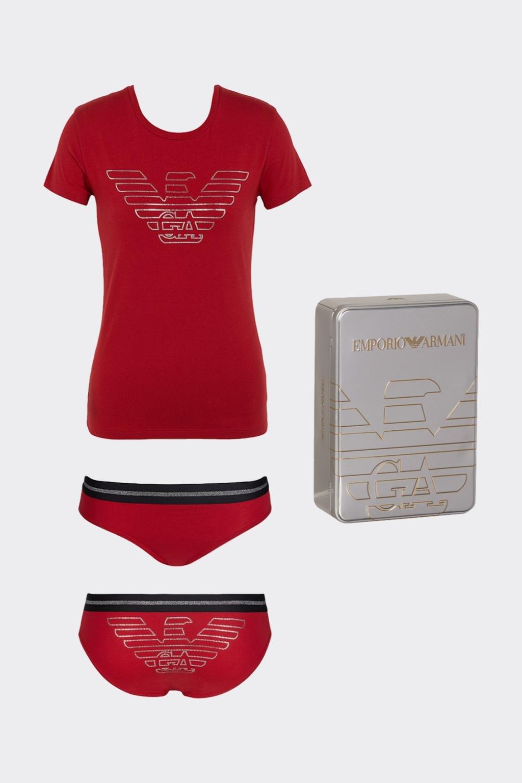 Emporio Armani dárkové balení Christmas eagle tričko + kalhotky -červená