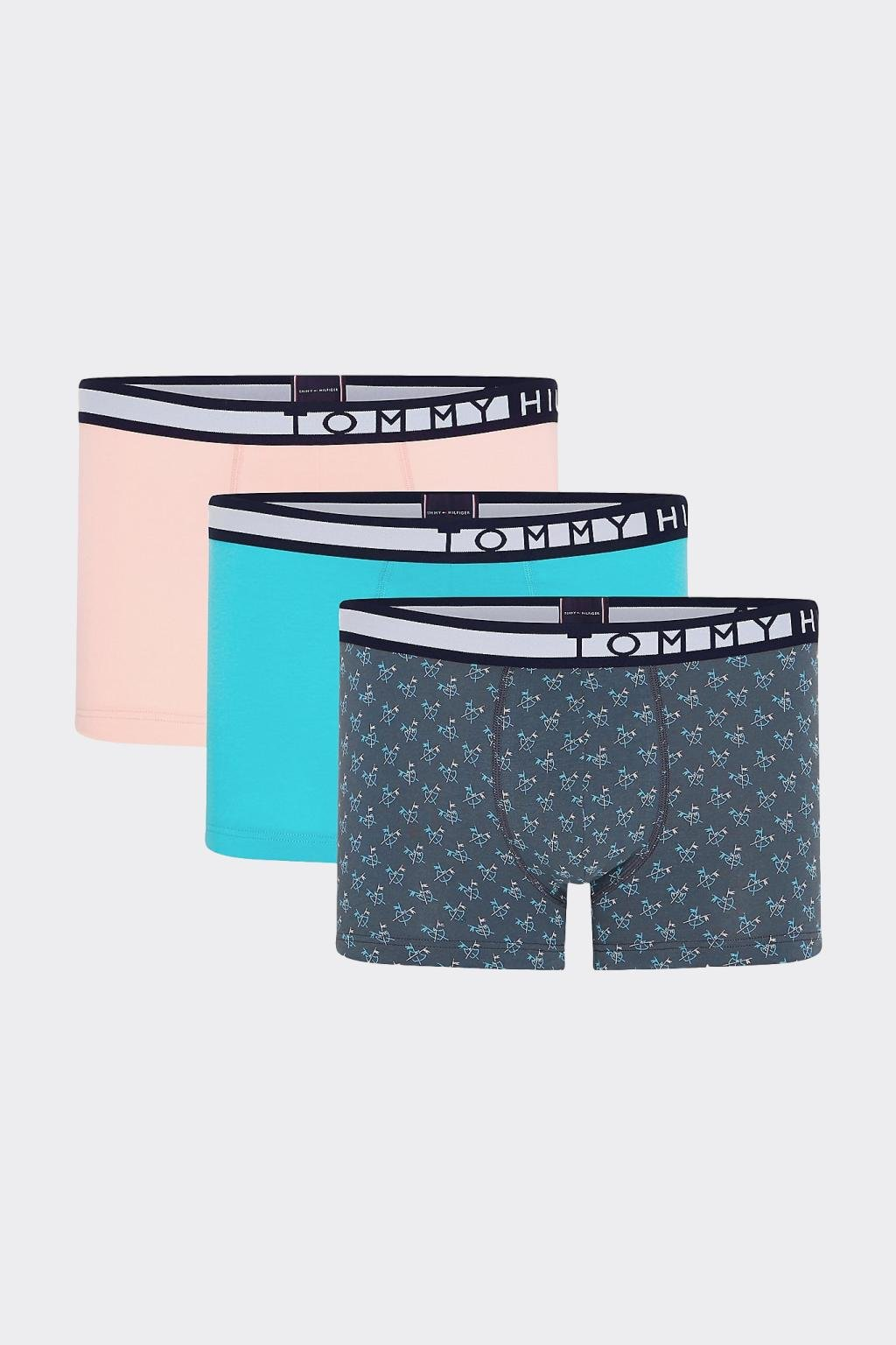 Tommy Hilfiger boxerky 3-balení - modrá, meruňková, šedá
