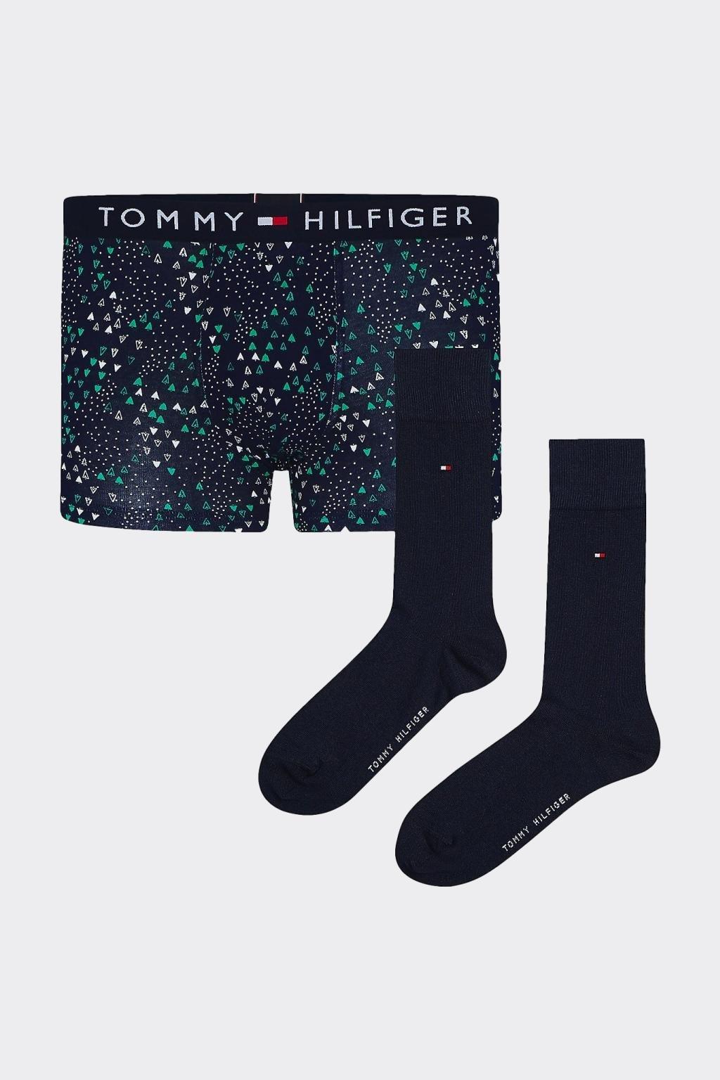 Dárkové balení Tommy Hilfiger boxerky + ponožky - tmavě modrá