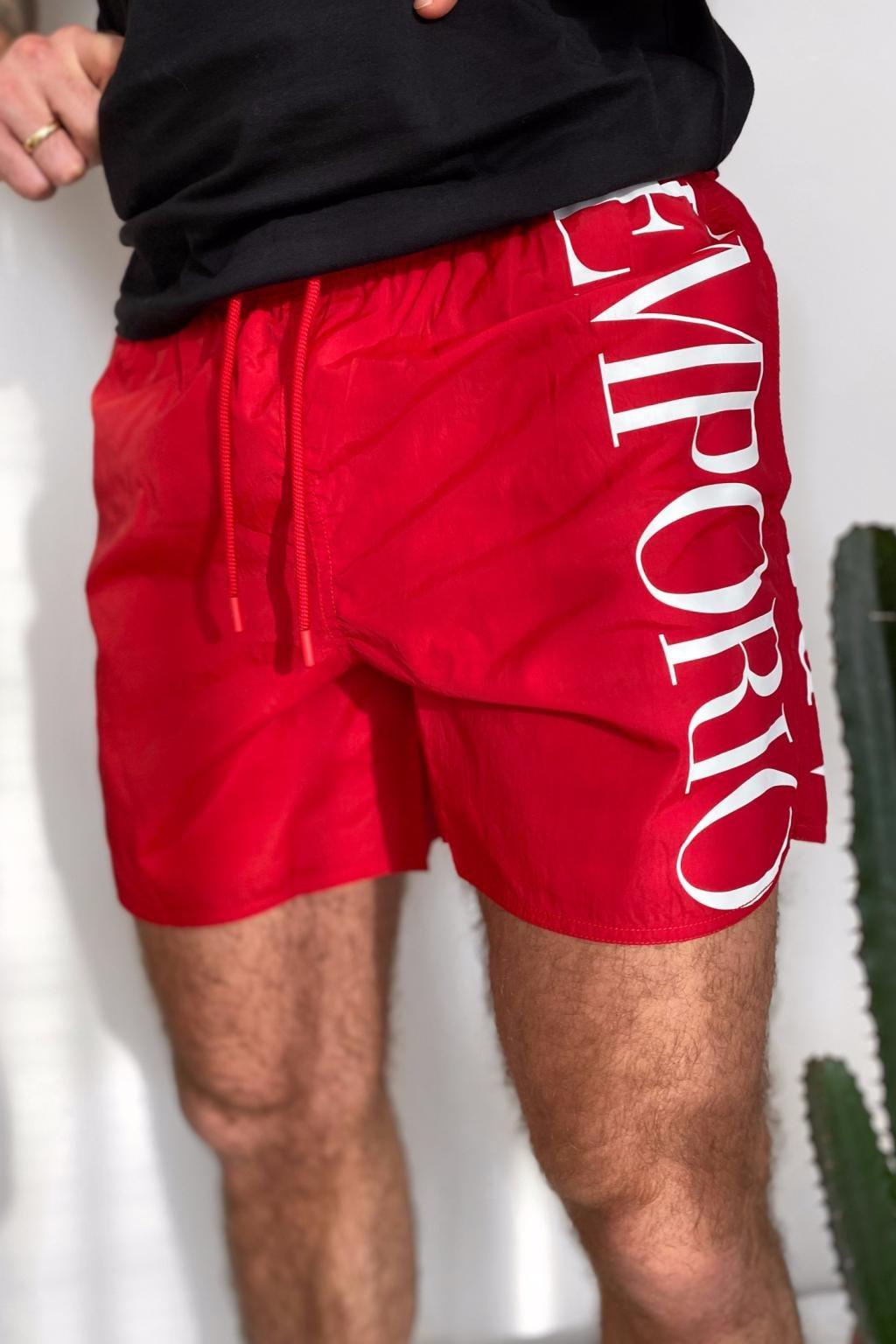 Emporio Armani plavky pánské - červené