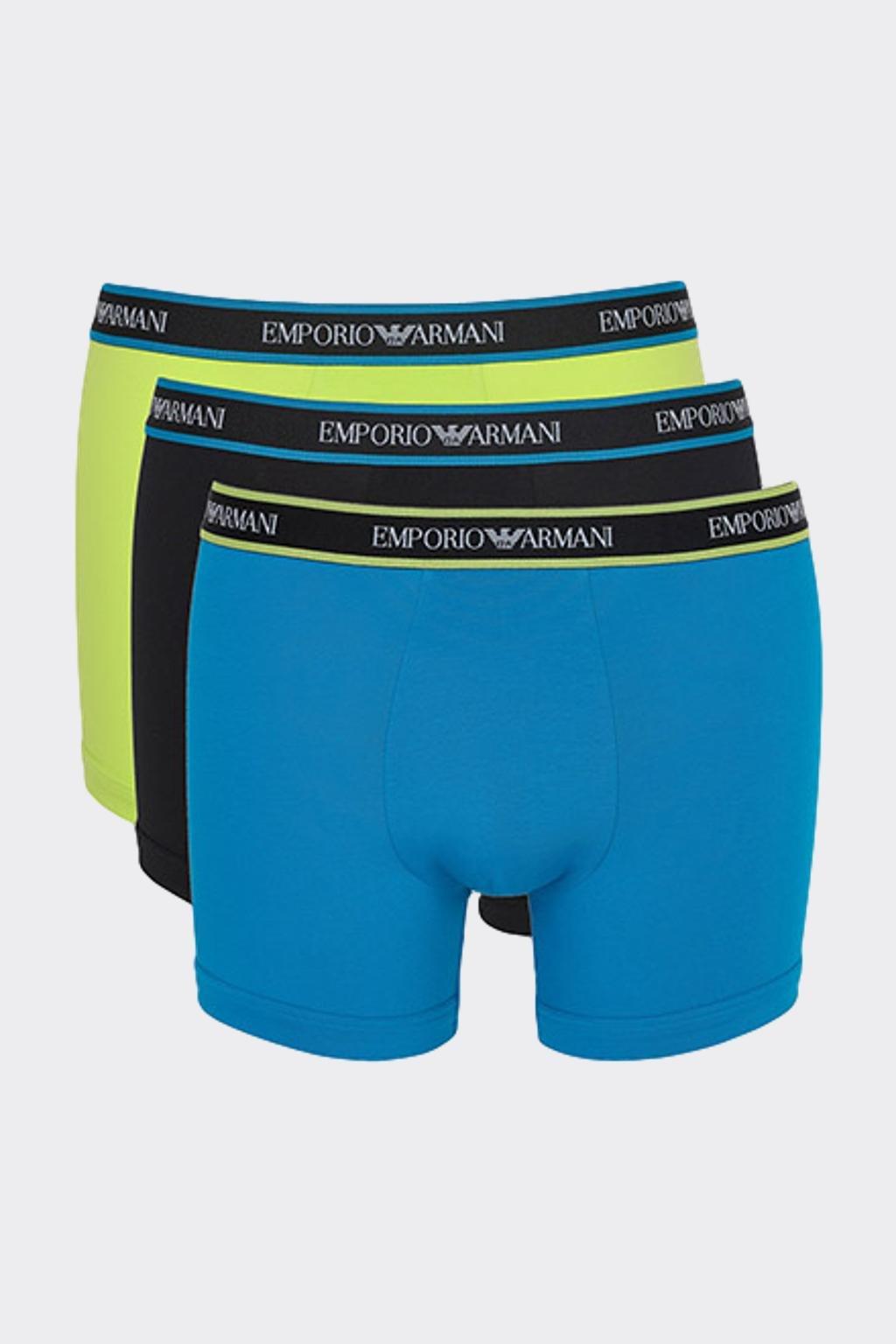 Emporio Armani logo boxerky 3-balení - tmavě modrá