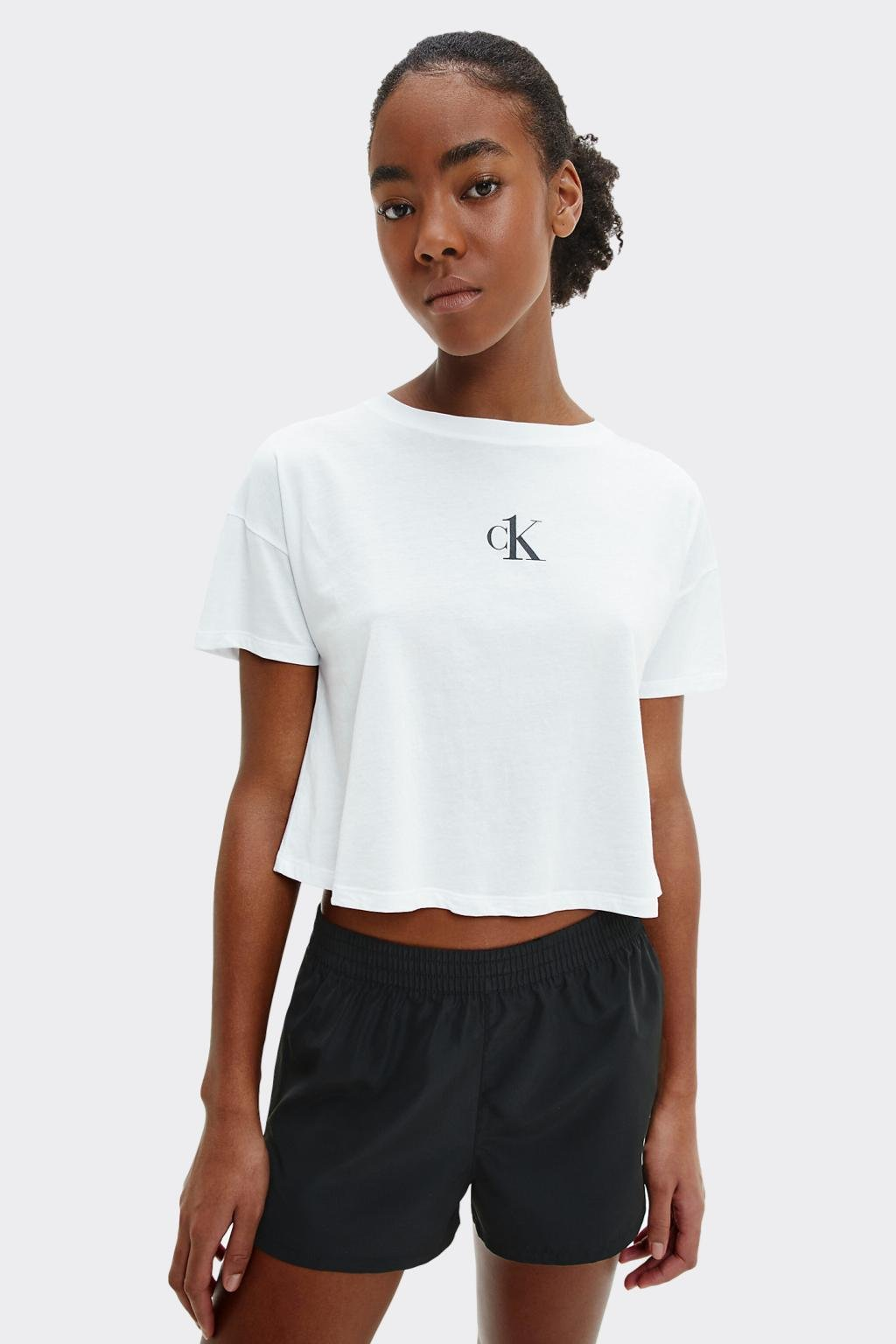 Calvin Klein crop tričko dámské - bílé