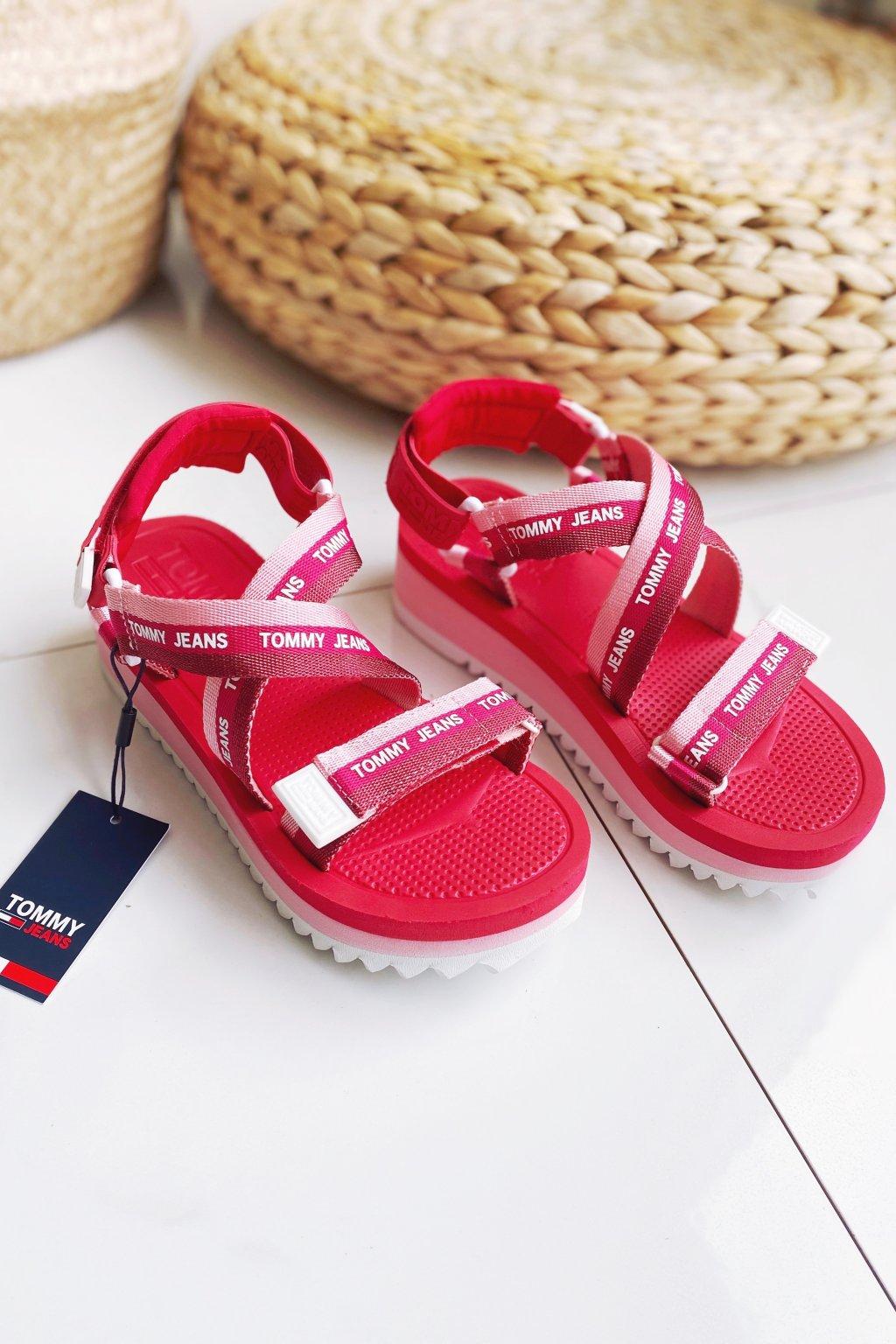 Tommy Jeans sandále dámské - růžové