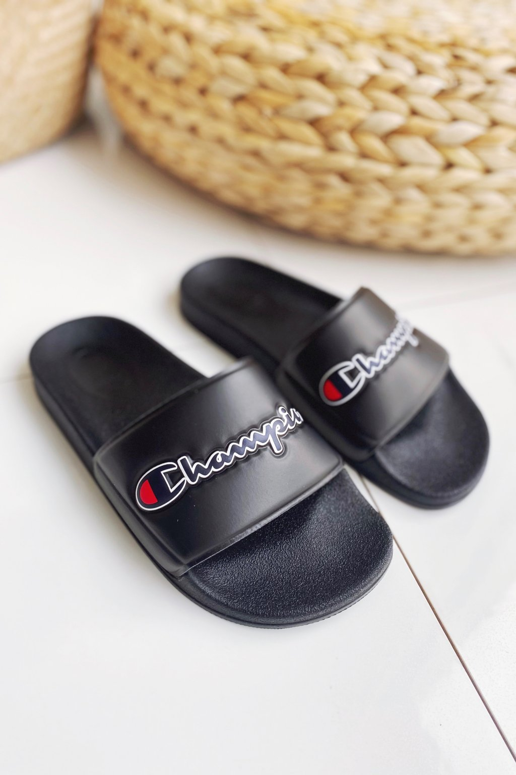 Champion M-EVO script pantofle dámské - černé