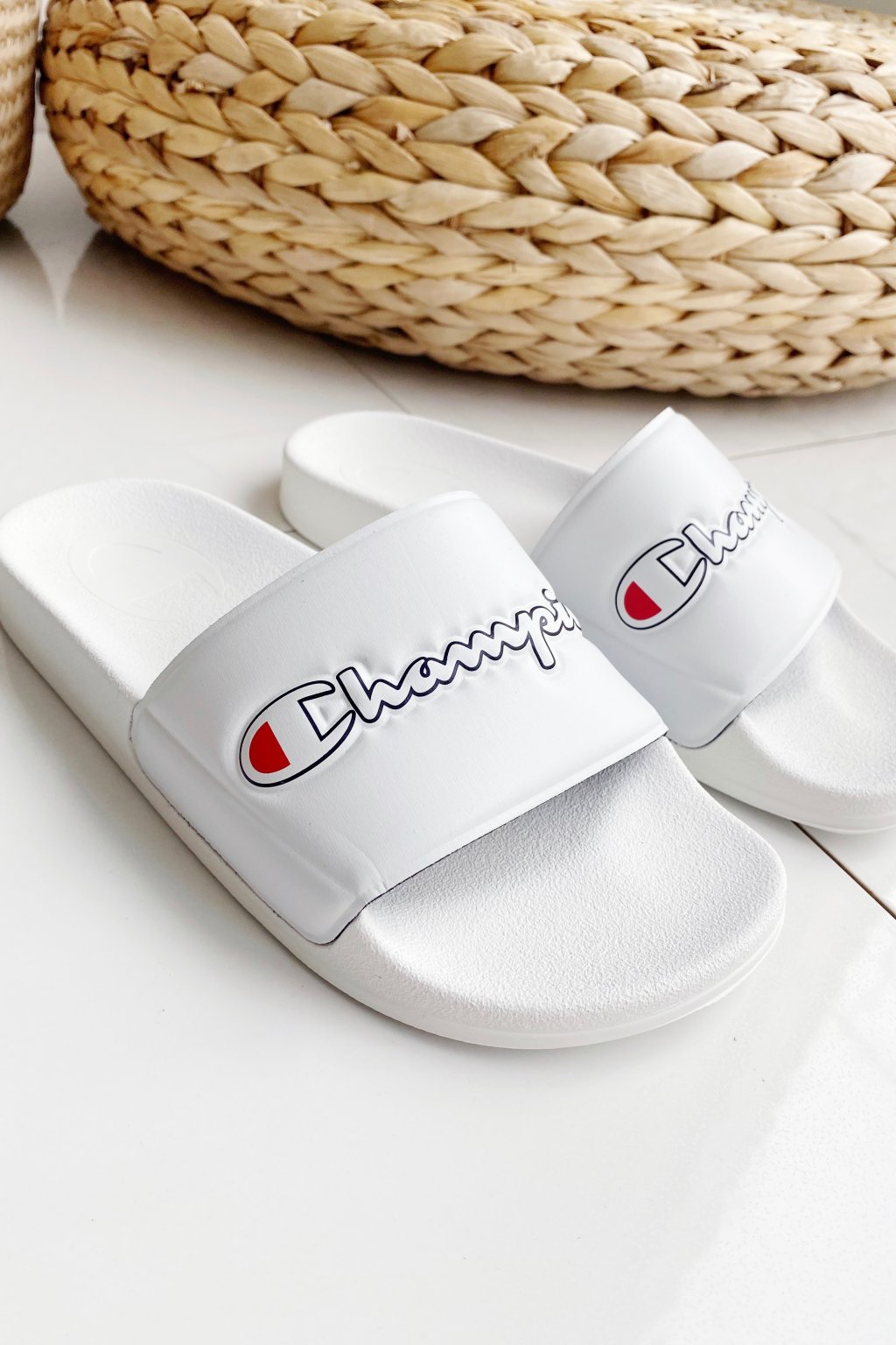 Champion M-EVO script pantofle dámské - bílé