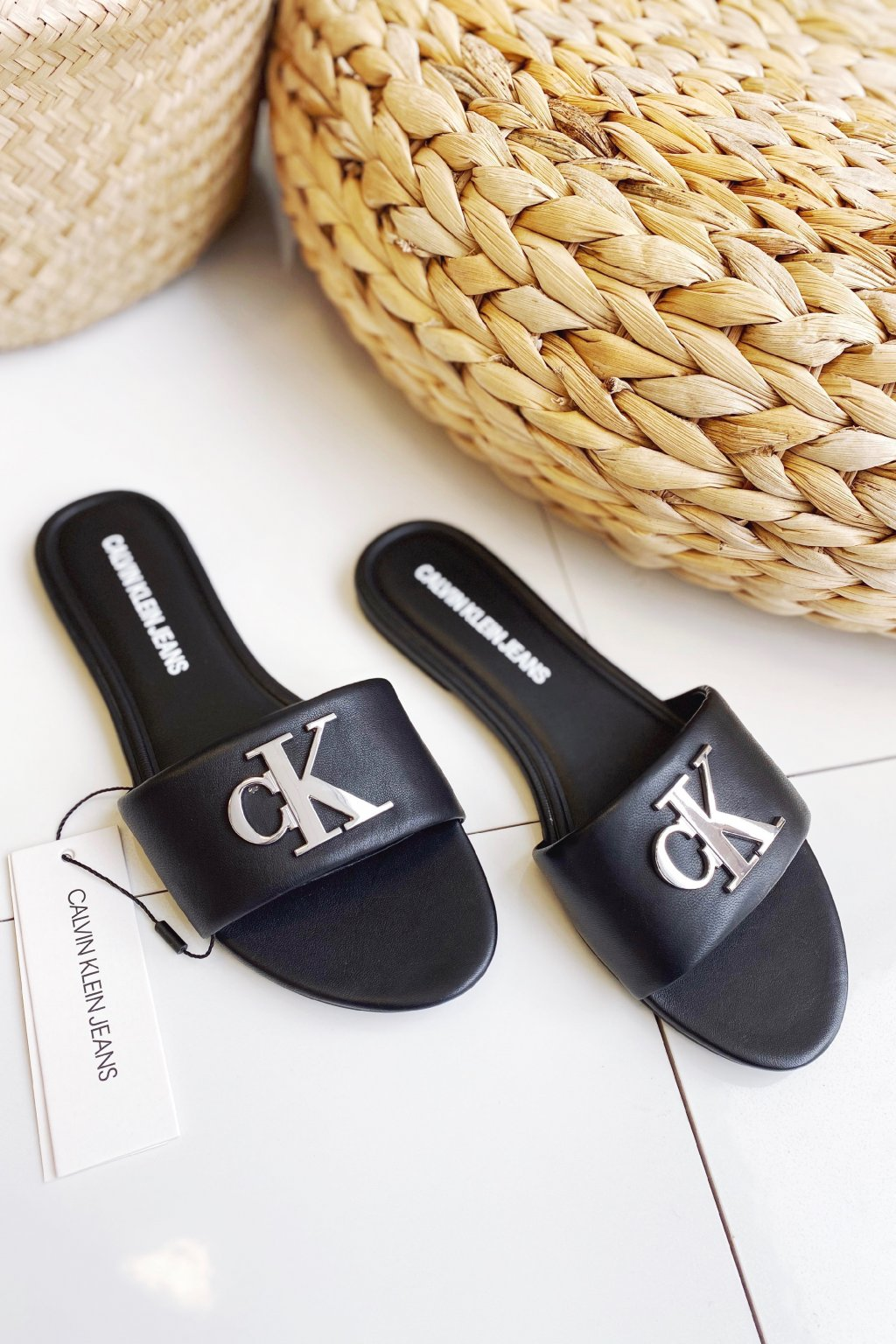 Calvin Klein Jeans pantofle dámské - černé