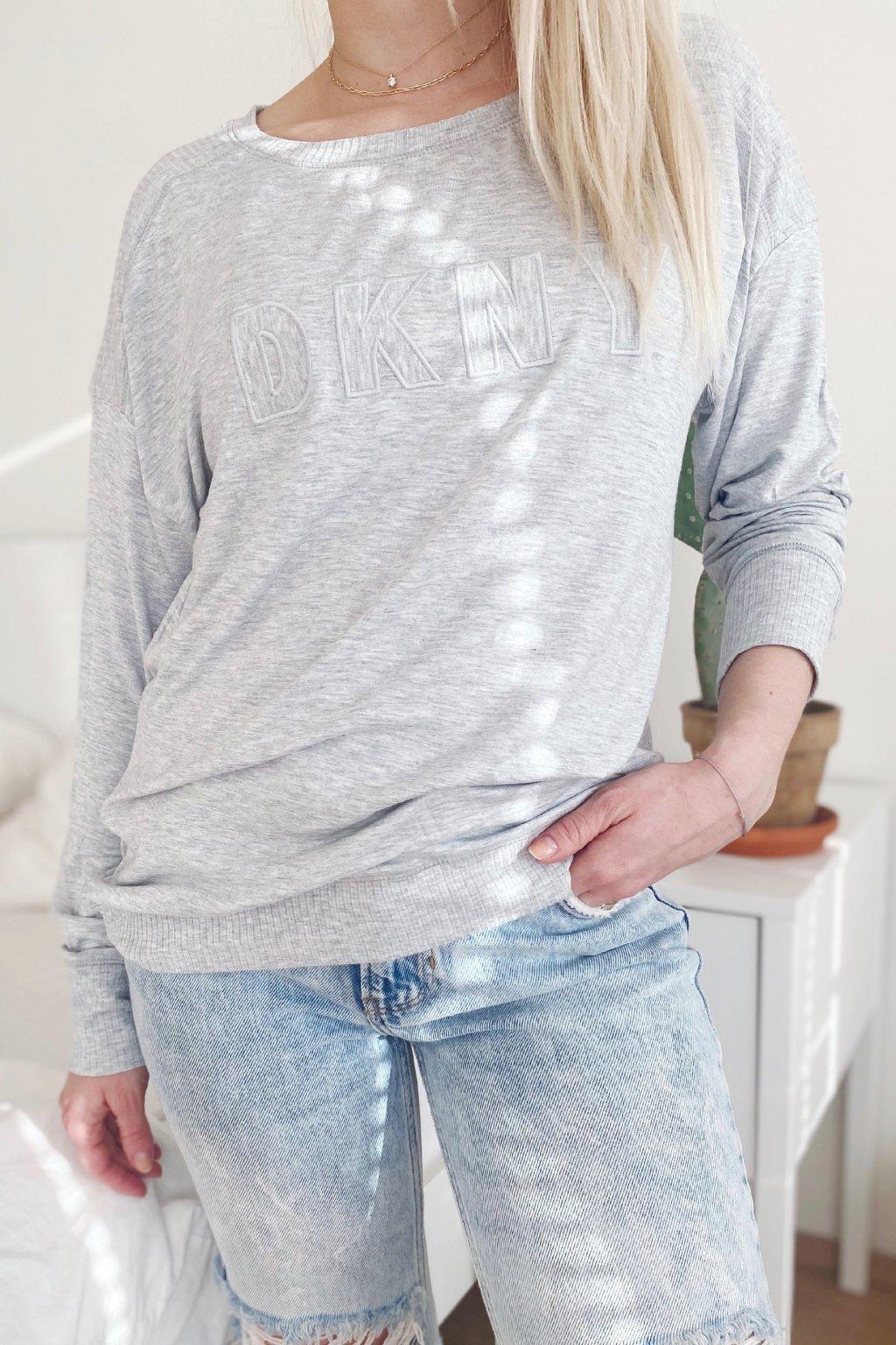 DKNY dámský top s dlouhým rukávem - šedý