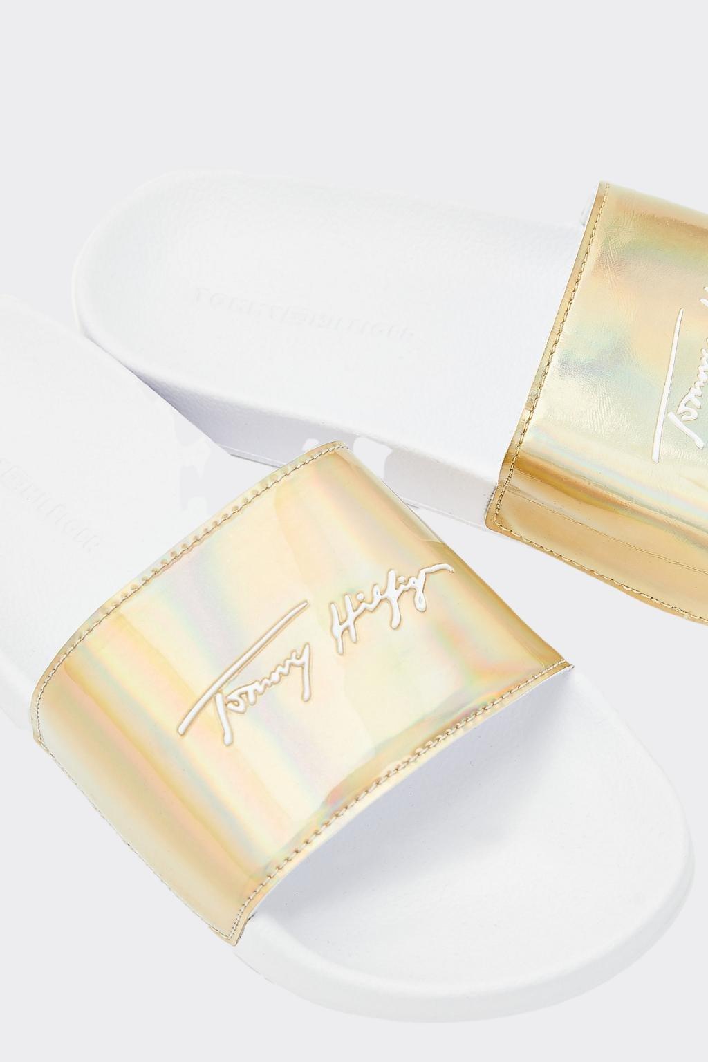 Tommy Hilfger signature pantofle dámské - zlaté