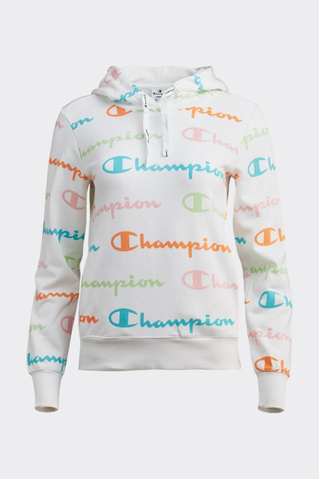Champion dámská allover logo mikina s kapucí - bílá