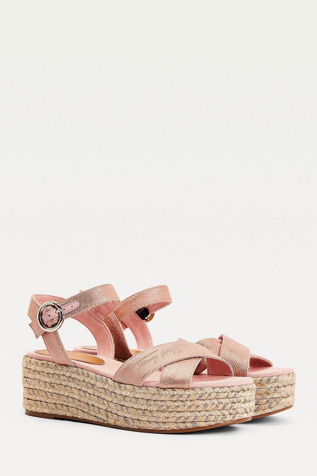 Tommy Hilfiger boty na klínku dámské - růžové