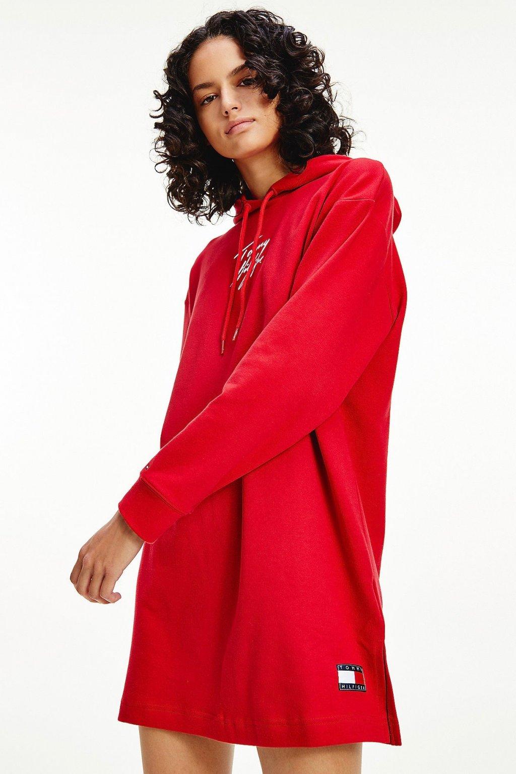 Tommy Hilfiger Signature teplákové šaty z organické bavlny - červené