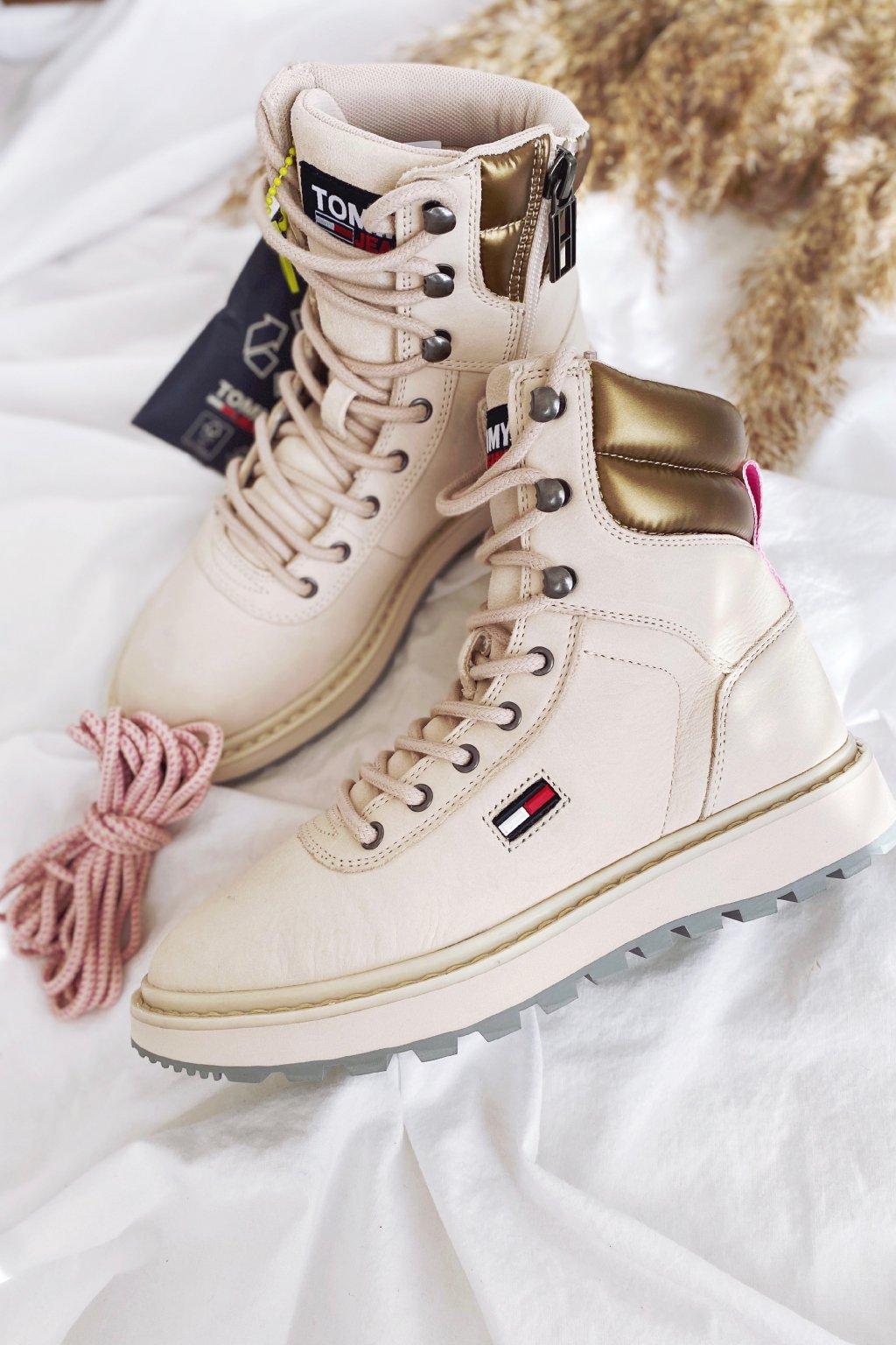 Tommy Jeans Lace-up Cleat boty dámské - béžové