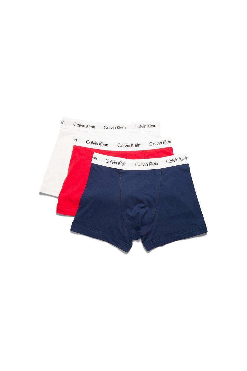 Calvin Klein Boxerky Premium 3 balení - bílá, červená, modrá