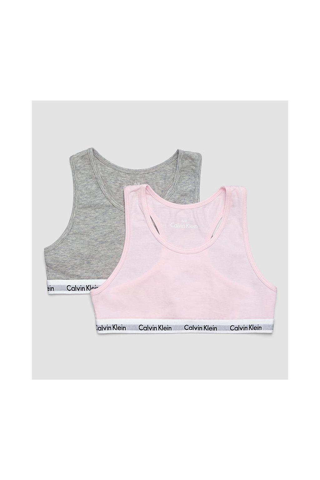 PRO DĚTI! Calvin Klein 2 balení Girls bralette šedá/růžová