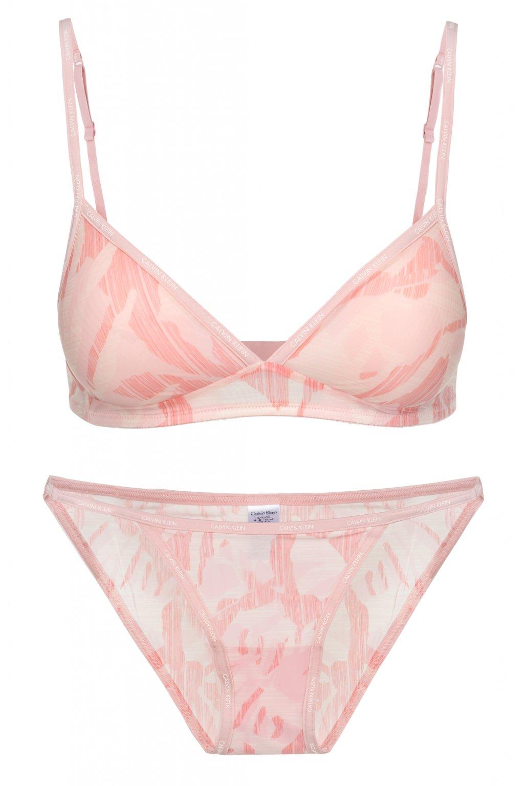 Calvin Klein Sheer Marquisette Bralette +Tanga Light Pink