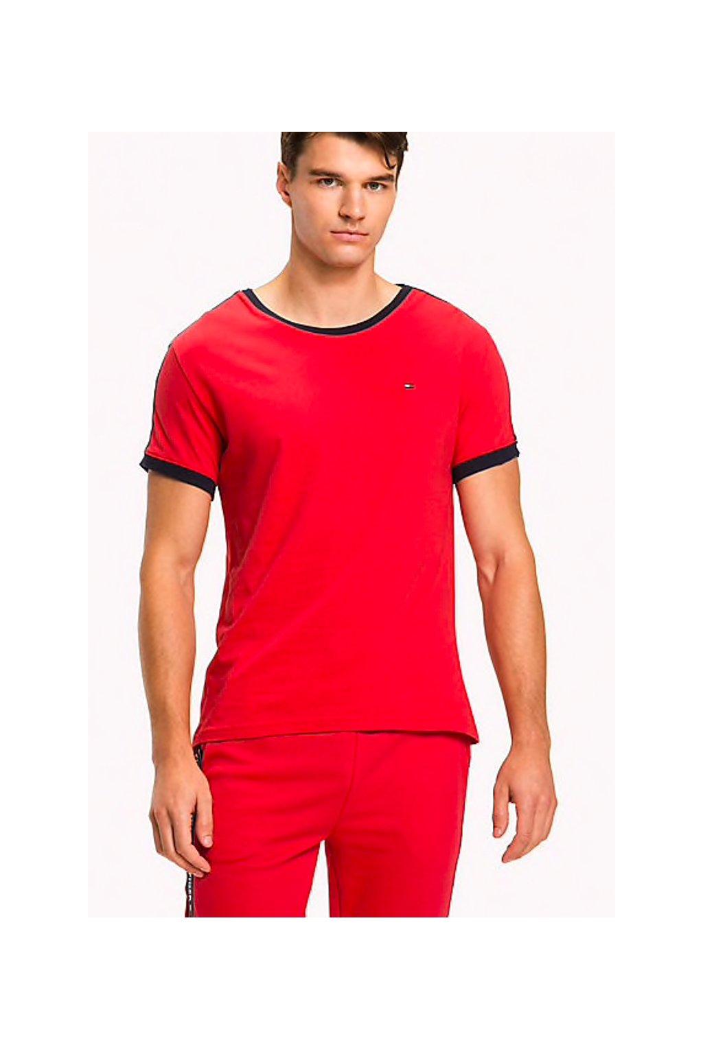 Tommy Hilfiger Logo Tape Tričko - červená