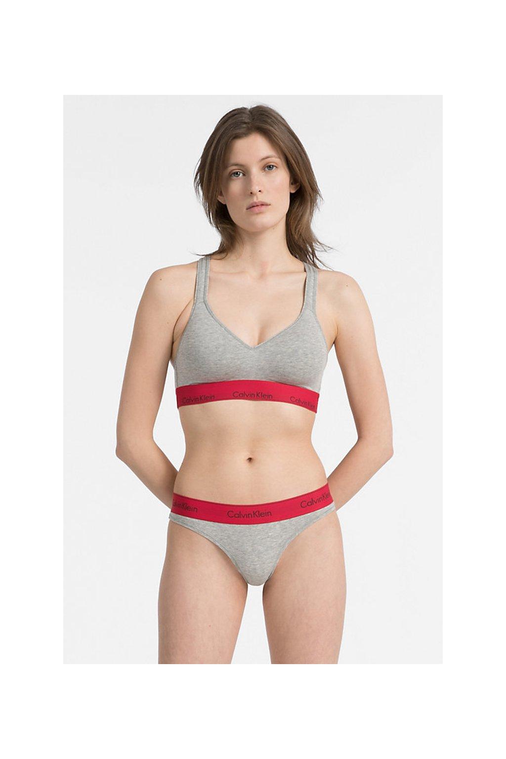 Calvin Klein Modern Cotton Bralette Lift - grey heather/ red manic
