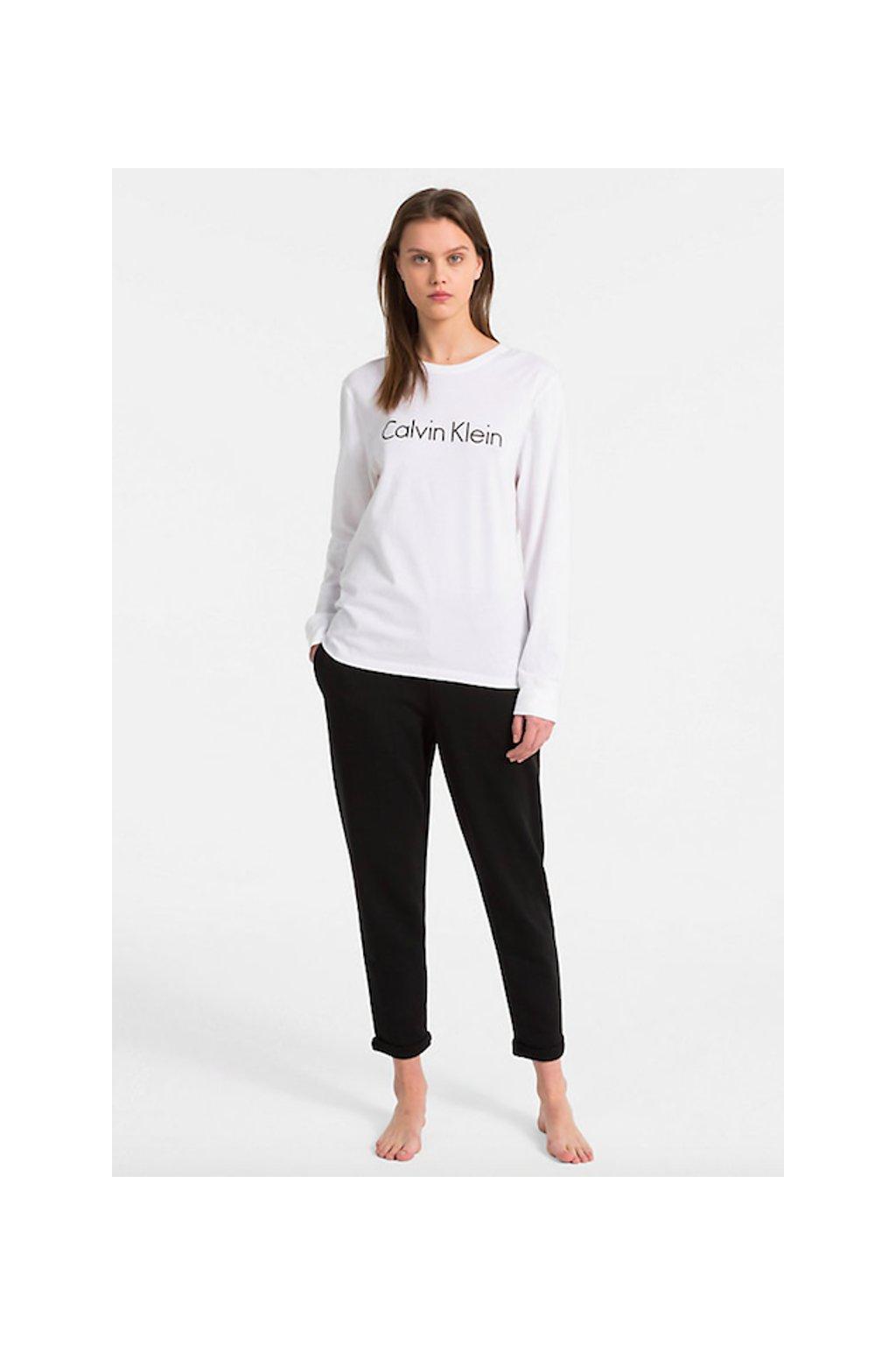 Calvin Klein Logo tričko s dlouhým rukávem - bílé