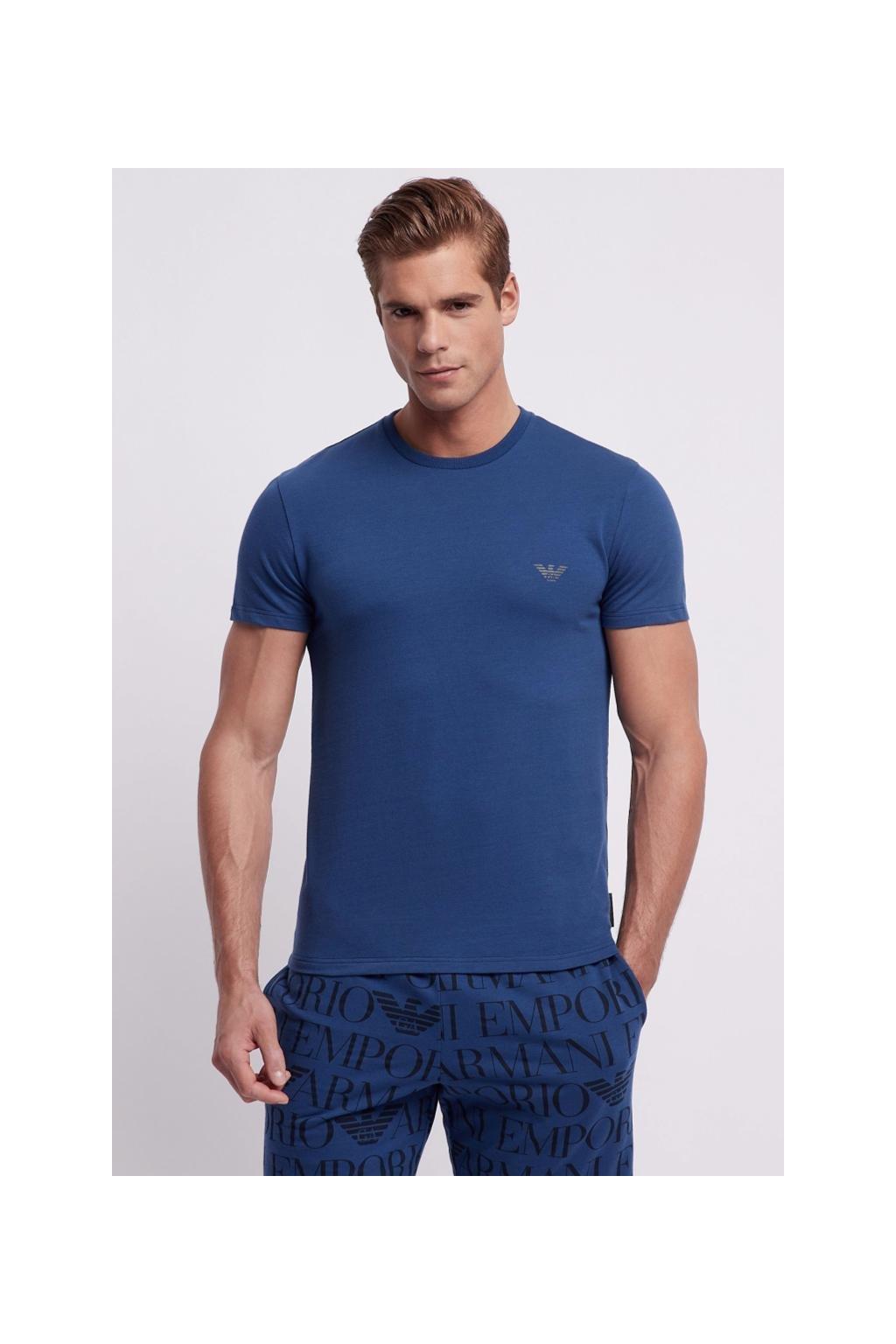 Emporio Armani all over logo tričko - modré