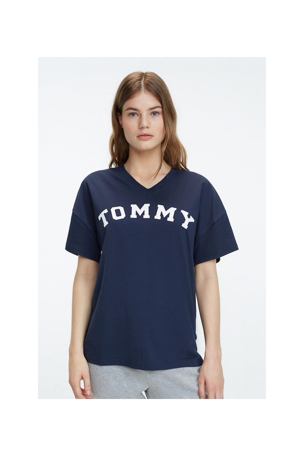 Tommy Hilfiger V-neck Tričko oversized - navy blazer