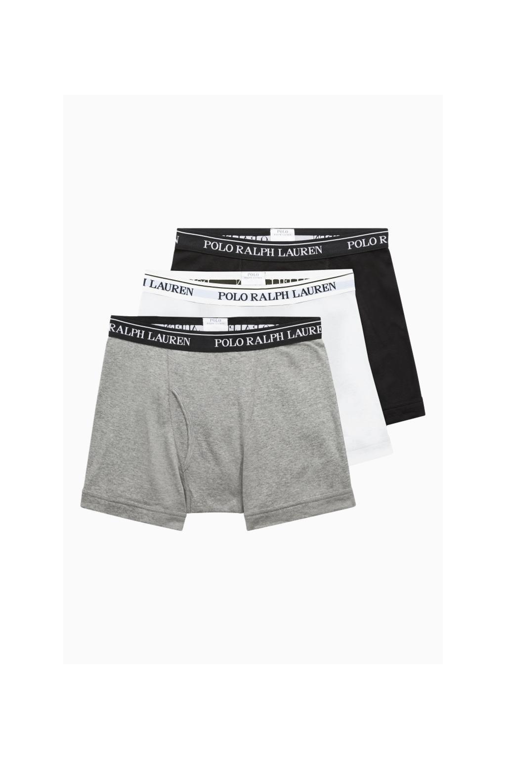 Polo Ralph Lauren boxerky 3- balení - bílá, šedá, černá