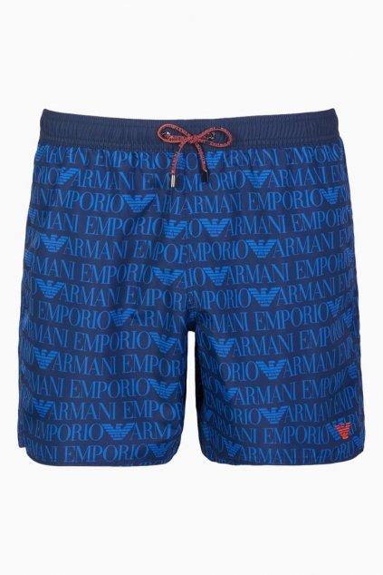 Emporio Armani plavky allover logo - modré