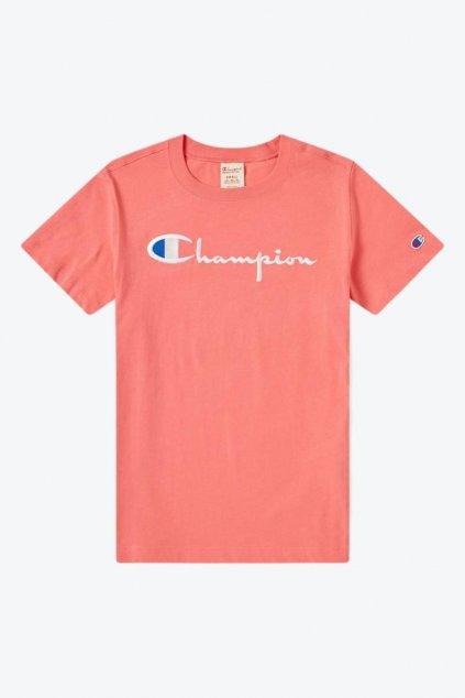 Champion Premium tričko large logo - korálová