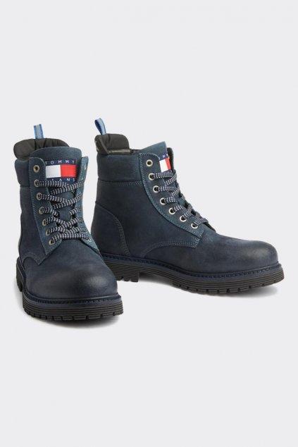 Tommy Jeans kožené pánské outdoor boty - ink