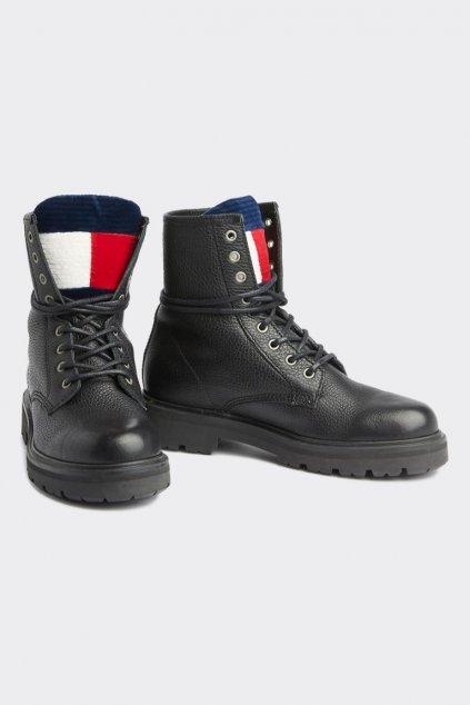 Tommy Jeans Lace-up Boots - černé