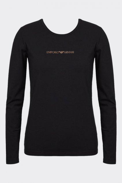 Emporio Armani Visibility cotton tričko dlouhý rukáv - černé