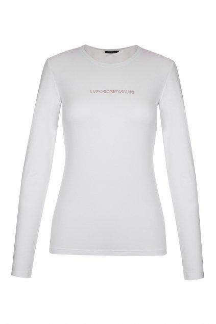 Emporio Armani Visibility cotton tričko dlouhý rukáv - bílé