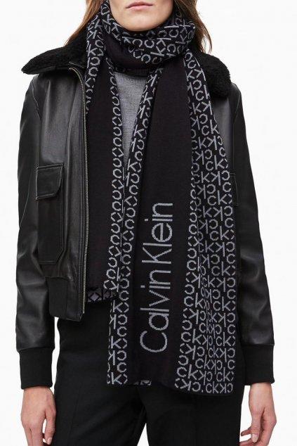 Calvin Klein šála allover logo - černá