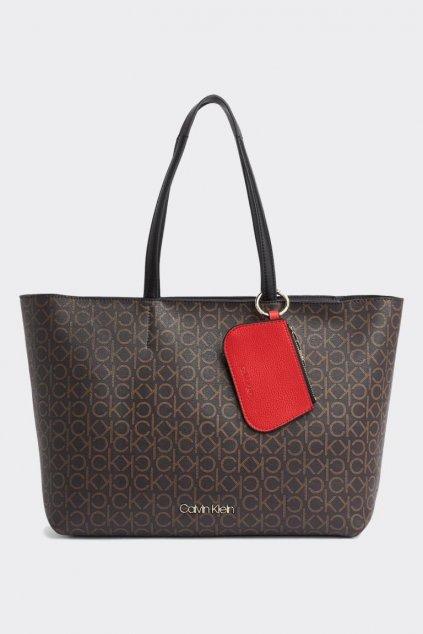 Calvin Klein monogram shopper kabelka - hnědá
