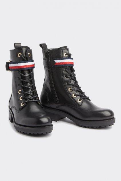 Tommy Hilfiger Lace- up Biker Boots - černé