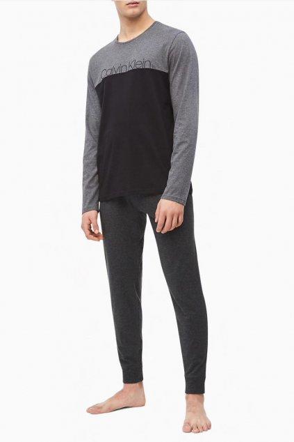 Calvin Klein pánské tričko dlouhý rukáv - šedá/černá