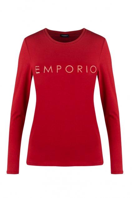 Emporio Armani Holy Cotton dámské tričko s dlouhým rukávem - červené