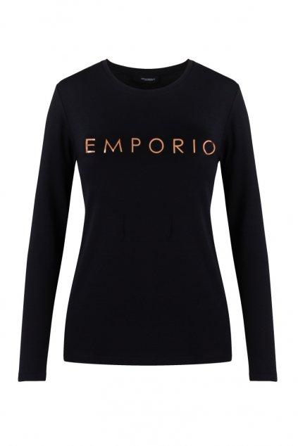 Emporio Armani Holy Cotton dámské tričko s dlouhým rukávem - černé
