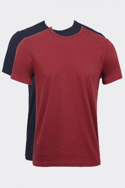 Emporio Armani Monogram trička 2-balení - vínová/tmavě modrá