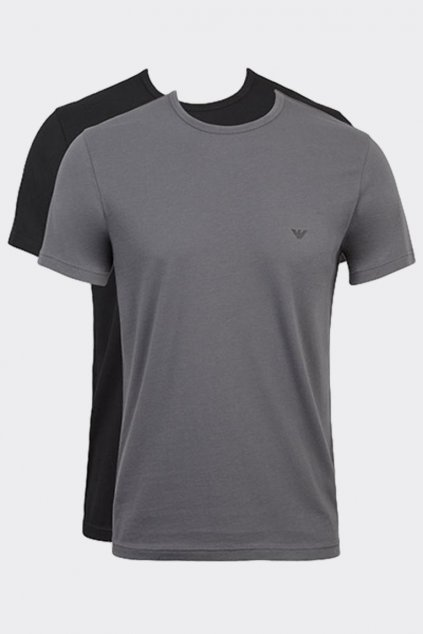 Emporio Armani Monogram trička 2-balení - šedá/černá